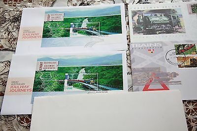 Stamp Collection x 4 Australian First day covers mini sheets trains tram Loco