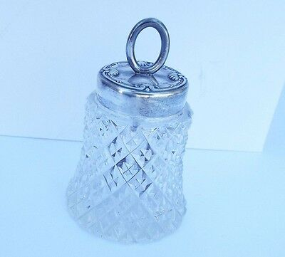 Vintage Cut Glass Glue Pot Bottle Top Brush Collectible Sterling 4463 101