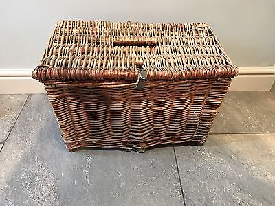 Large Rustic Vintage Wicker Fishing Basket/Creel Tackle Storage Box/Hamper...