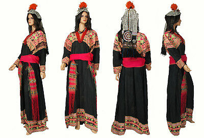 antik Komplettes Kleid Kette & Mütze Pakistan Chitral kalash Woman's Dress NR:1