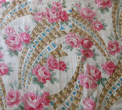 Antique Roses Floral Light Lawn Cotton Fabric ~ Pink Blue Green Brown