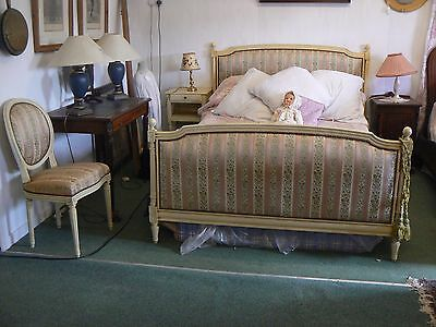 3 Piece Antique / Vintage French Matching Bed Bedside & Matching Chair Cream Oc