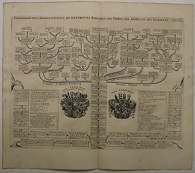 Germany House Of Ascania 1719 Chatelain Antique Copper Engraved Genealogical Map