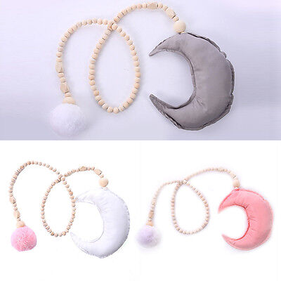 Moon & Hairy  Ball Wooden Beaded Ornaments Children's Room Game Tents Decoration