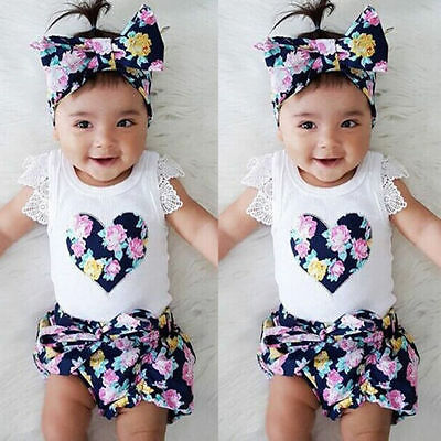 Newborn Kids Baby Girls Outfits Clothes T-shirt Tops+Floral Pants Short 3PCS Set