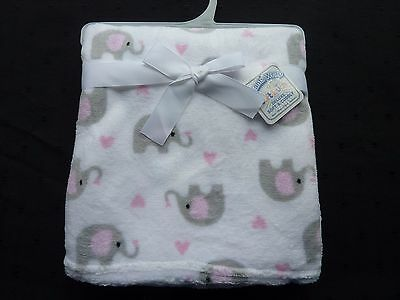 Fleece Baby Wrap/blanket White With Grey And Pink Elephant Motifs, Soft To Touch