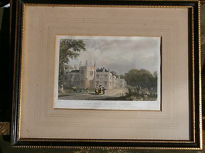 """VINTAGE FRAMED COLOURED PRINT c MID 1800s. """"PLACE HOUSE, PADSTOW, CORNWALL"""""""