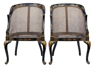 Pair Of Early 20Th Century Lacquered Chinoiserie Cane Chairs