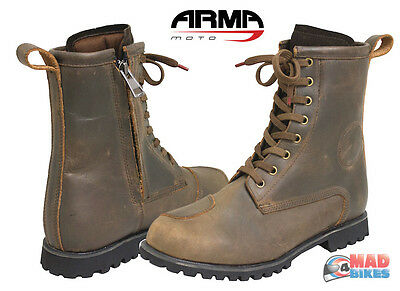 ARMR Retoro Urban Style Motorcycle Boots Leather Waterproof Casual Boot With Zip