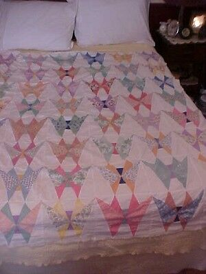 Vintage 1930s QUILT TOP, BUTTERFLY , FEEDSACK FABRICS