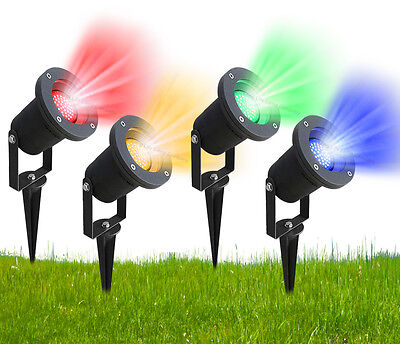 12V Red Green Blue Yellow LED Garden Spike Ground Outdoor Spike Light IP65 MR16