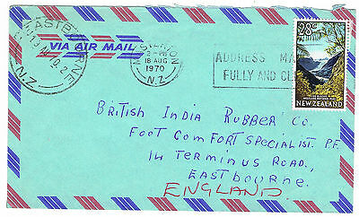 1970 New Zealand Airmail Cover Missent to Eastbourne NZ - 28c rate to UK