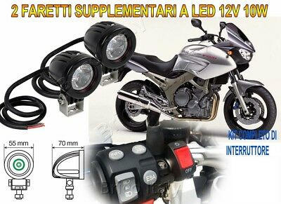 Faretti Fari Supplementari Led Kit Completo 12V 10W 6000K Per Yamaha Tdm 900