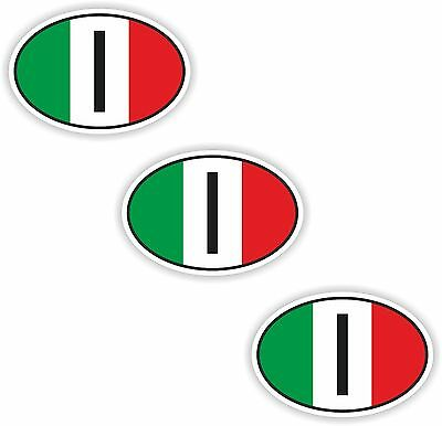 3x Oval Flag Stickers Italy Small Country Code Laptop Smartphone Case
