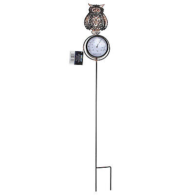 Owl Home Garden Outdoor Backyard Ornament Decoration On Ground Stake Thermometer