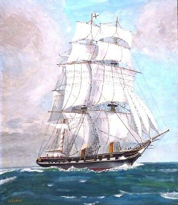 Large oil painting of a sailing ship.Signed W H Ward