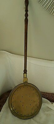 Antique original Early American 19th C Circa 1800's Brass Bed Warmer