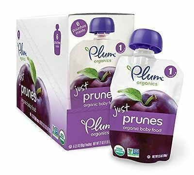 Plum Organics Baby Just Fruit, Prunes, 3.5 Ounce Pouches (Pack of 12)