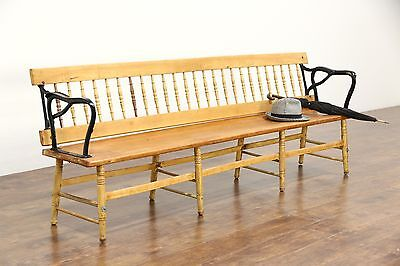 Railroad Station Flip Back Reversible Antique Train Depot Bench, Whitcomb Boston