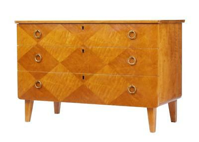 1950's SWEDISH DECORATIVE BIRCH CHEST OF DRAWERS