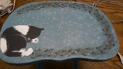 Fold Up Stool With Cat Painted On It