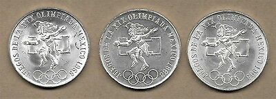 1968 Mexico 25-Peso Olympic Silver Coins 3 Different Type 1, 2, 3 Unc