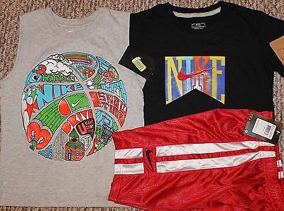 New! Boys Nike Summer 3 pc Lot/Outfit (2 Shirts, Shorts; Black/Gray) - Size 6
