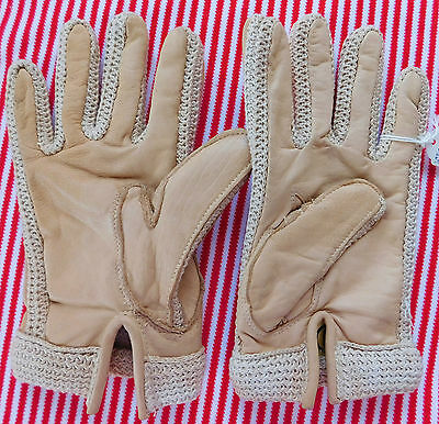Ladies driving gloves Leather and Cotton UNUSED Vintage 1960s Beige SHOP SOILED