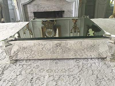 Antique English Victorian Silver Plate Mirrored Plateau - Square