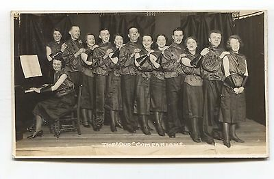 The 'Dud' Companions - concert party & piano - 1935 real photo postcard