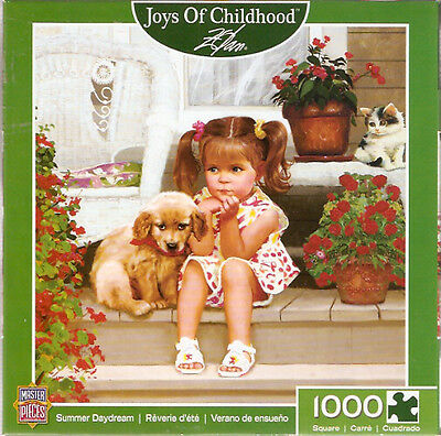 Golden Retriever Girl Kitten Summer Daydream Jigsaw Puzzle 1000 piece