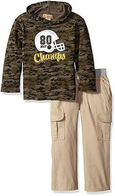 Kids Headquarters Toddler Boys Hooded Camouflage Top 2pc Pant Set Size 3T