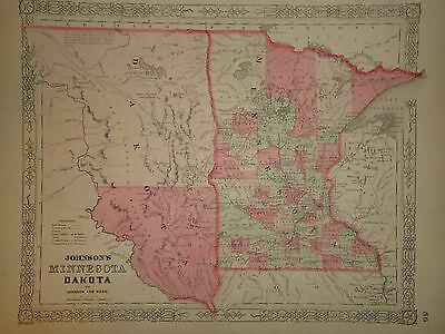 VINTAGE 1860's DAKOTA TERRITORY MINNESOTA MAP OLD ANTIQUE ORIGINAL ATLAS MAP J12