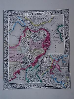 Vintage 1860  Boston  Map ~ Old Antique Atlas Map  *free S&h 1864/111516
