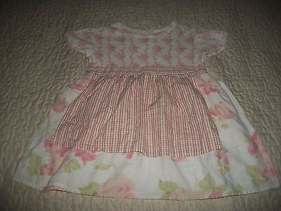 Baby Lulu Pink/White/Sage Floral/Checked S/S Dress - Size 3T