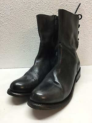 Q5 NEW Bed Stu Cheshire Black Leather Back Lace Up Short Boot Women's Size 9 M