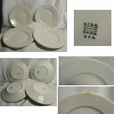 """Lot 4 K T & K 7"""" Salad Plates Ironstone Restaurantware Knowles Taylor & Knowles"""