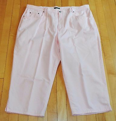 Women's Plus Size 20W Ralph Lauren Pink Cotton Capri Pants