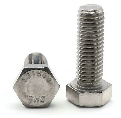316 Stainless Steel Hex Cap Screw Bolt FT UNC 1/4-20 x 3/4, Qty 250