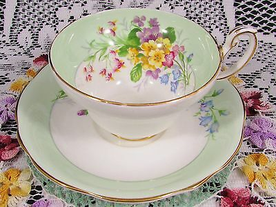 Foley Lavish Floral Sprays Green Band Tea Cup And Saucer