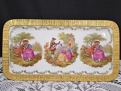 """Bayreuth Germany Courting Couples Fragonard Heavy Gold 13"""" Serving Tray"""