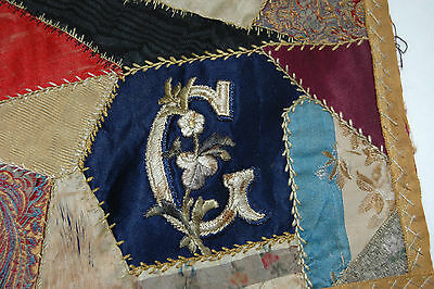 Antique Crazy Quilt Piece Embroidered Stitching Study 16 x 16 C