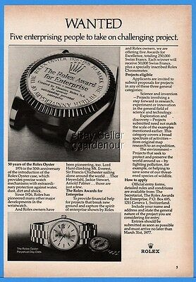 1976 Rolex Oyster Chronometer Watch WANTED Science Exploration Environment Ad