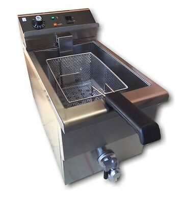 15 Amp Single Commercial Bench-top Electric Fryer NEW with Taps and Cold Zone