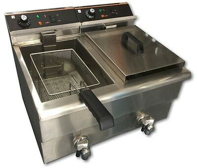 Double 17 Litre Commercial Electric Bench-top Electric Fryer w/ Cold Zone & Taps