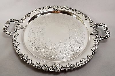 Ornate Lawrence B Smith Grapevine Handled Silver Plate Tray Boston-Weddings