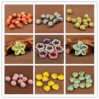 5Pcs Fashion Jewelry Mixing Shape Ceramic Porcelain Loose Spacer Big Hole Beads