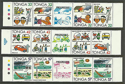 TONGA 1991 ACCIDENT PREVENTION Fire Police Medical Cars 12v + Tabs in STRIPS MNH