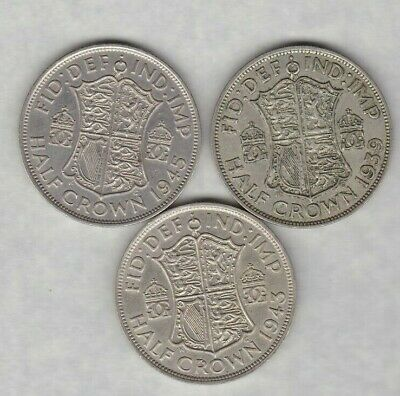 1939 & 1943 George Vi 50% Silver Half Crowns In Very Fine Or Better Condition