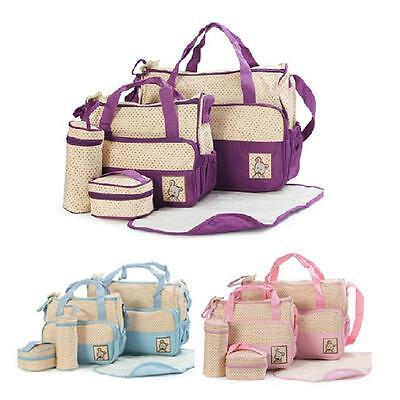 5PCS Baby Diaper Lunch Multi-function Maternity Mommy Baby Storage Mama Bag Set